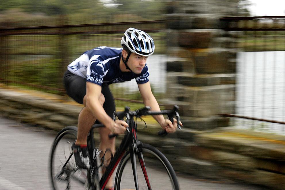Tyler Knabb on his bicycle